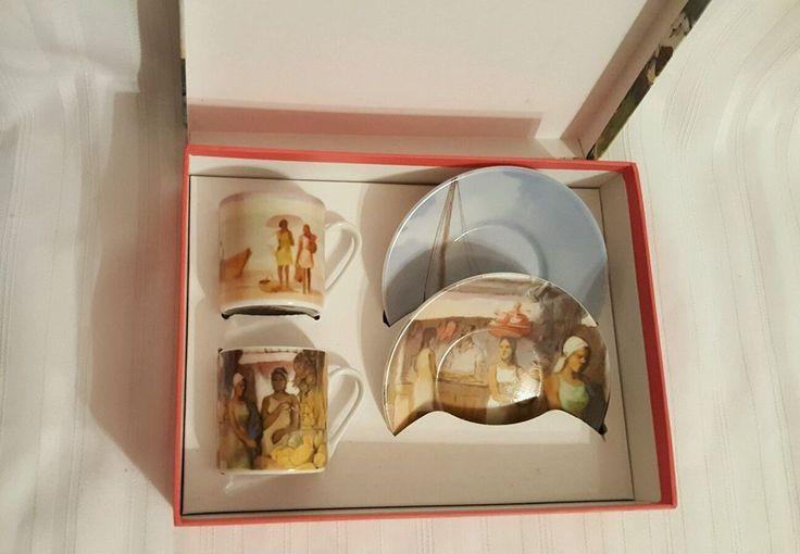 Arte de Cafe Espresso Coffee Set of 2 Andujar Limited Collection Cups & Saucers #ArtedeCafe