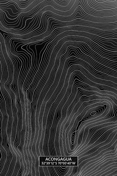 Aconcagua Colored Contour Map In Black