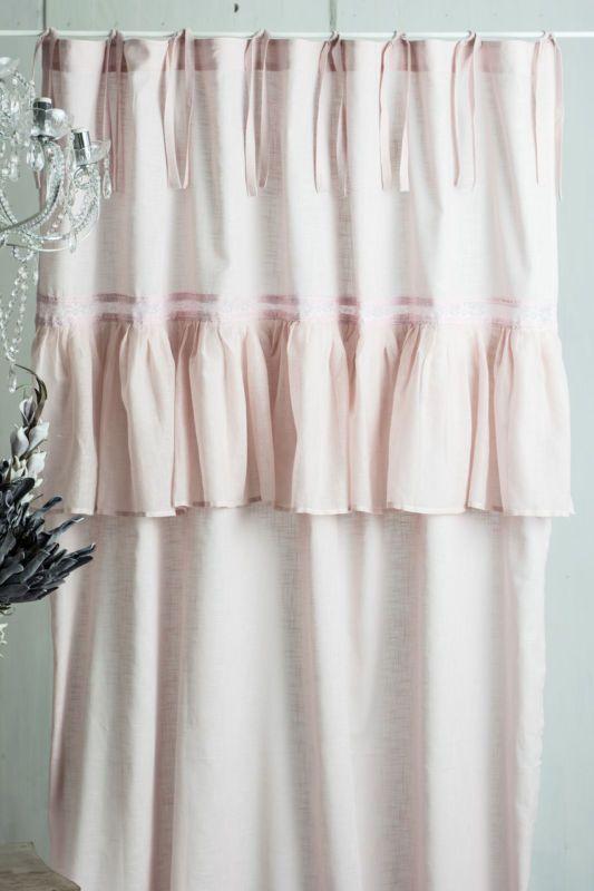 SOFIA MUSCHEL ROSA 145x250cm Gardine Vorhang Raffgardine Landhaus Shabby Vintage