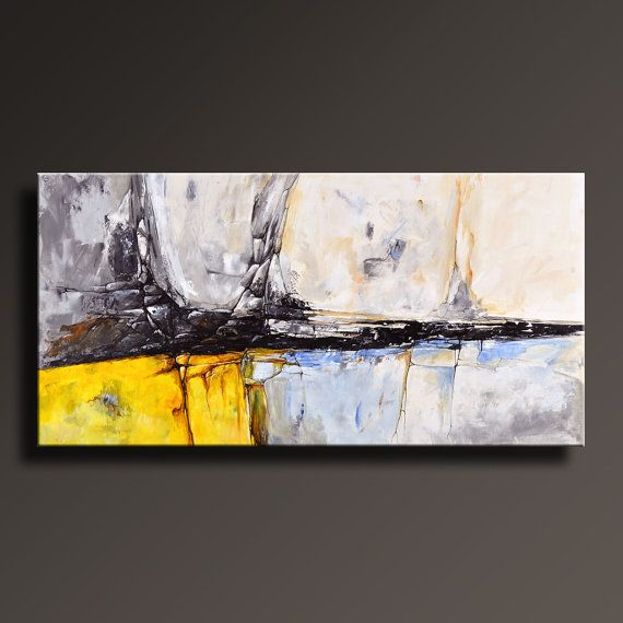 PINTURA abstracta amarillo gris blanco negro azul por itarts