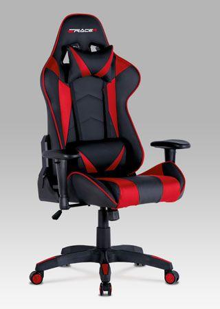 KA-F03 RED  Kancelářská židle červená koženka / černá látka, nosnost 100 kg.