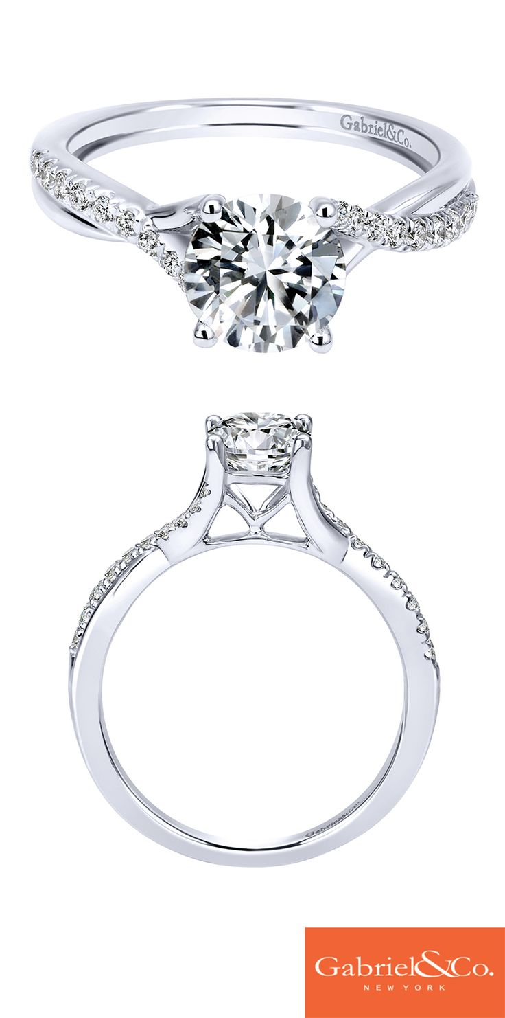 For the simple and elegant future bride, this beautiful 14k White Gold Round Diamond Criss Cross Engagement Ring is the one! Discover your perfect engagement ring or customize your own at Gabriel & Co.