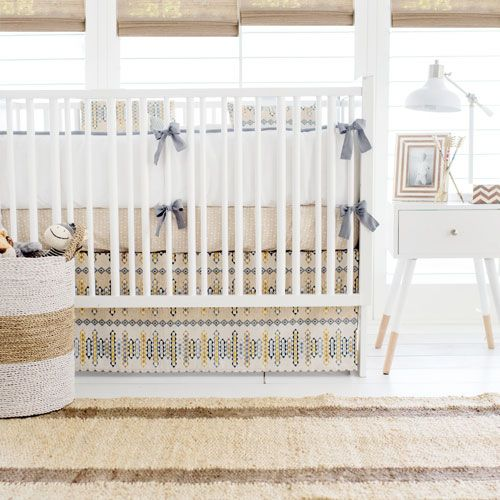 Aztec baby bedding is perfect your little boho babe! This neutral baby bedding is from our Navajo in Gold Crib Collection.