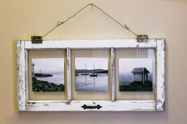 O estilo vintage dessas janelas antigas darão todo o charme as suas fotografias prediletas. Basta um tratamento básico nas partes de madeira, lixando e pintando, para depois fixar os retratos nas partes de vidro com adesivo.