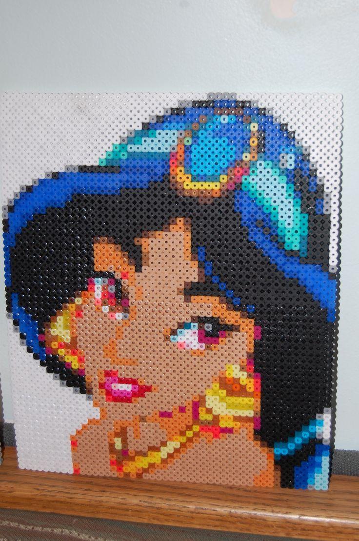 Princess jasmine perler bead art made by amanda wasend aka - Hama beads cuadros ...