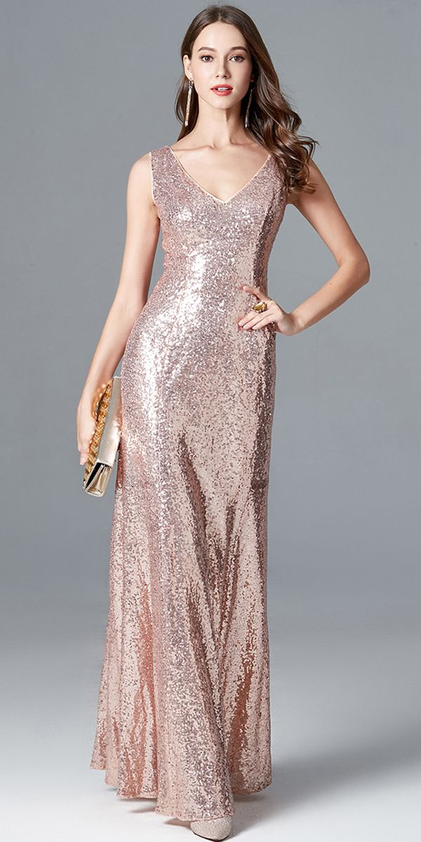 In Stock Brilliant Sequin Lace V-neck Neckline Sheath/Column Prom ...