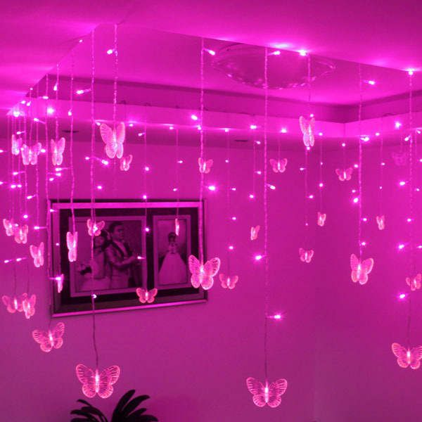 Online Shop Flower Pavilion Decoration Corner Booths Ceiling Decoration 0 5 8 Meters Butterfly Led Curtain Lighting In 2020 Neon Room Neon Bedroom Led Lighting Bedroom