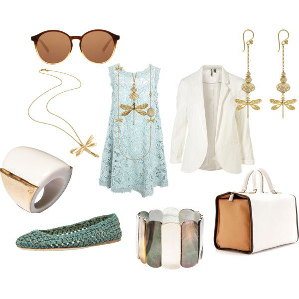 Dragonfly accessories..replace the gold with a silver or bronze, and I would so wear this outfit....maybe add at least a 1/2 in heel, too :)