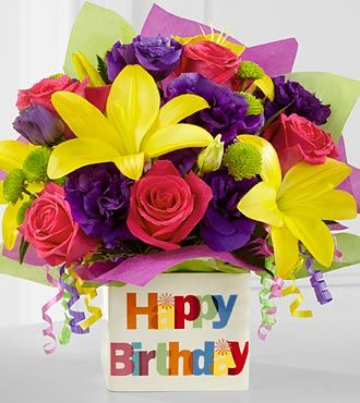 The Happy Birthday Bouquet by FTD® - VASE INCLUDED- Deluxe