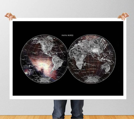 Poster Print wall Art World Map in the Galaxy