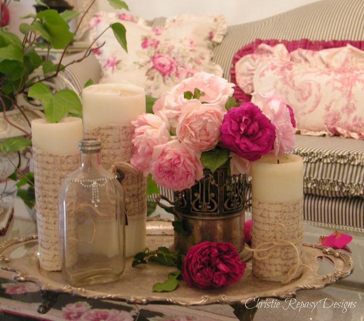 living room vignette with roses from my garden~ C.Repasy