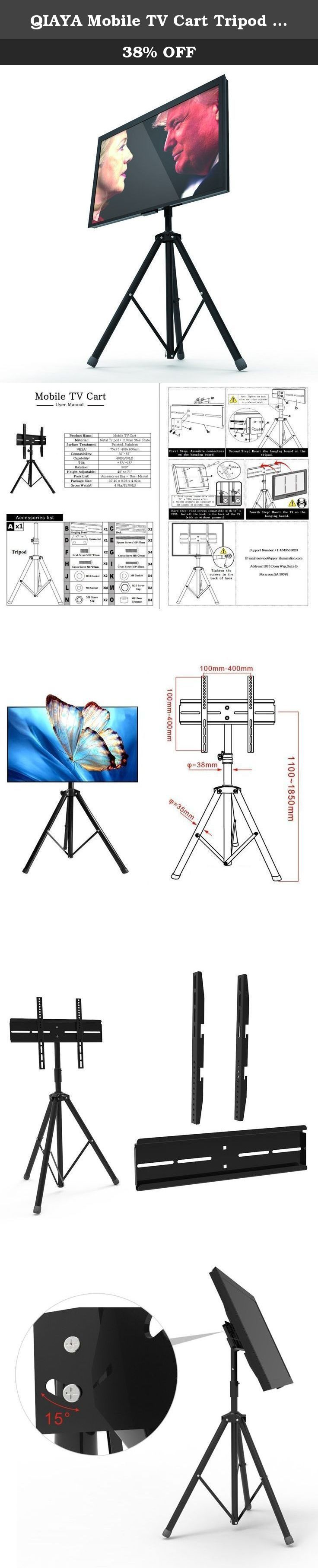 "QIAYA Mobile TV Cart Tripod TV Stand 360 Rotation Portable Universal for 32 to 55 inch Flat Panel Screens LED LCD OLED Plasma. Fit 32-55"" TVs This universal TV Cart/mobile TV Stand with mount fits most 32""-55"" Flat and Curved Panel LED, LCD, and Plasma TVs. VESA size-max 400x400mm. This full motion TV Stand offers complete adjustability Perfect for any angle of viewing. Can tilt 20 degree up and 20 degree down, and swivel right and left for 360 degree. Offer the most complete mobile…"