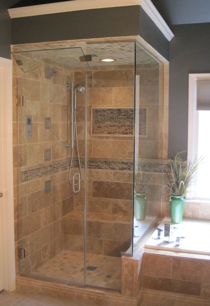 The tile shop bucak dark travertine with ocean woods for Travertine tile bathroom gallery