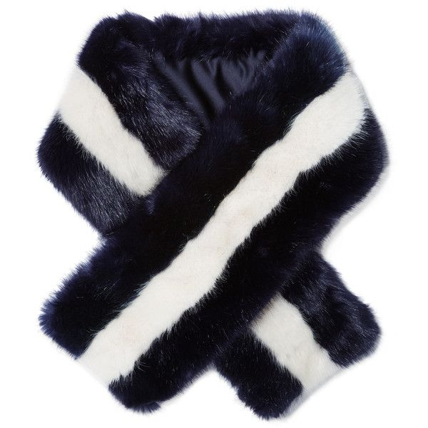 J.Crew Mariner faux fur scarf (217 AUD) ❤ liked on Polyvore featuring accessories, scarves, midnight blue, faux fur shawl, j crew scarves, fake fur scarves, fake fur shawl and faux fur scarves