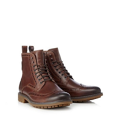 Clarks Brown 'Montacute Lord' brogue boots   Debenhams