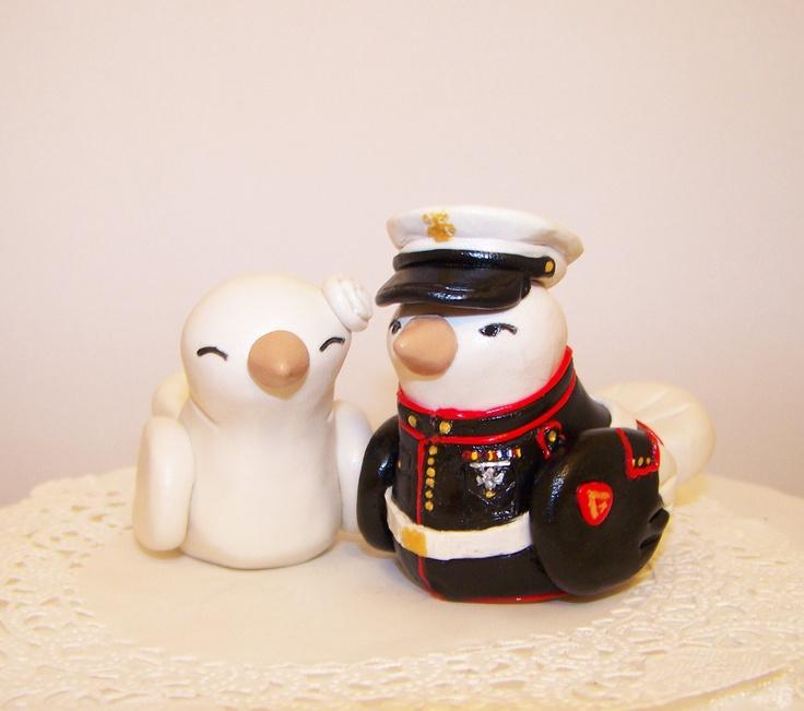 Marine Wedding Cake Topper Custom - Military Wedding Decoration - Choice of Colors. $125.00, via Etsy.