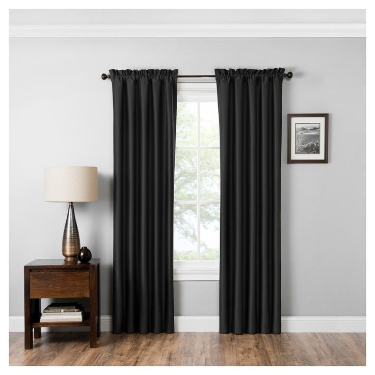 "Miles Thermaback Blackout Curtain Panel Black (42""x95"") - Eclipse Absolute Zero"