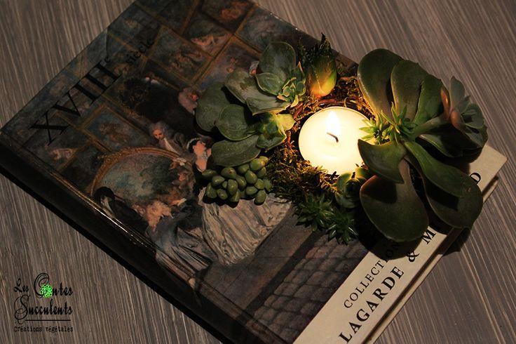 Le Livre Succulent des Lumières - Un livre décoré de succulentes et éclairé pour une ambiance romantique - Idée centre de table et décoration de mariage