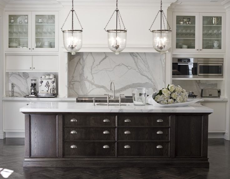 Black and white kitchen marble benches and splash back pendant lighting over island - White kitchen with dark island ...