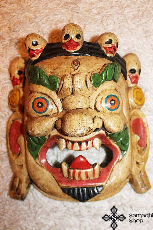 Mahakala Protector Bodhisattva Wooden Mask Wall Hanging