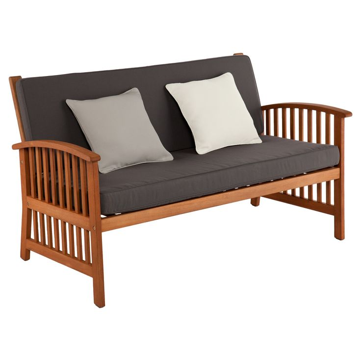 Outdoor functionality meets contemporary comfort in the Castille Outdoor Sofa. Slatted design adds craftsman style while bold hardwood contrasts rich gray cushions complete with throw pillows in light gray and ecru.