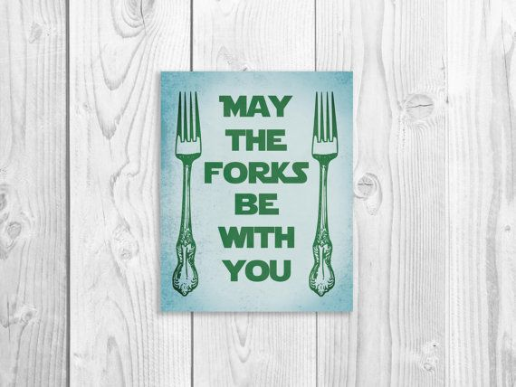 Kitchen Art Print, Funny Star Wars Art Print, Fork Quote, Geek Decor, Star Wars Kitchen 8 x 10 on Etsy, $118.97