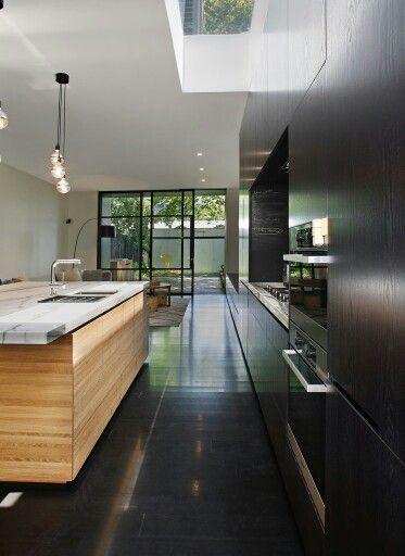 Open plan slimline kitchen with island bench
