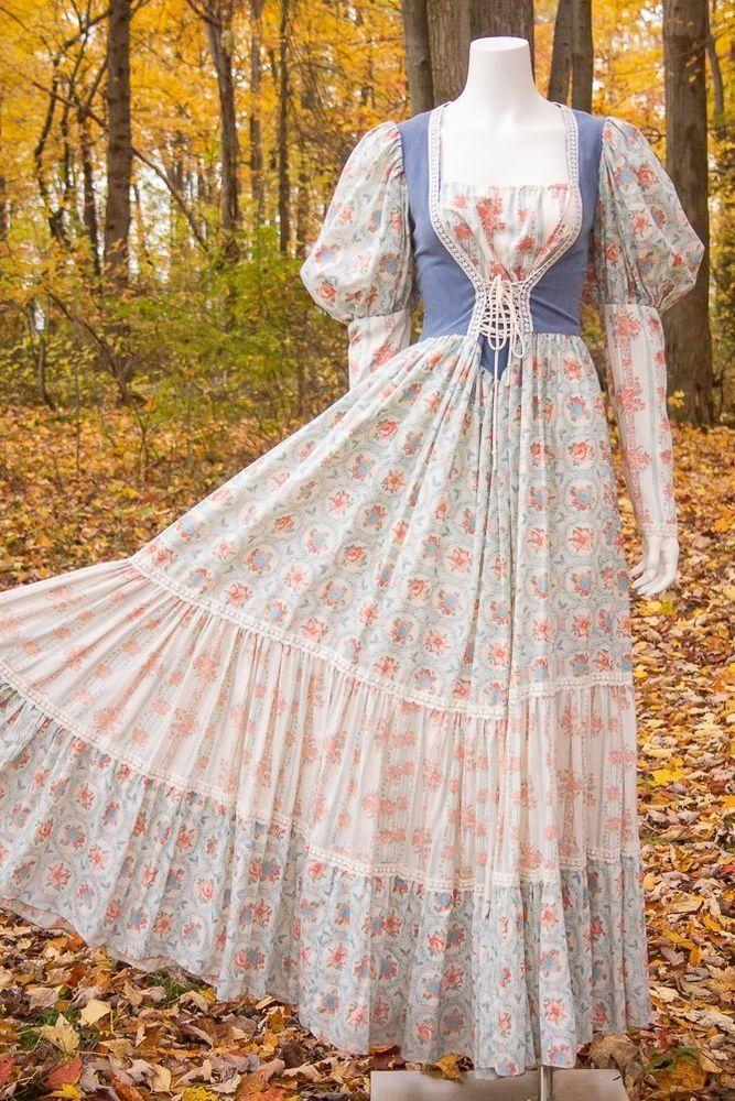da78f21f8b935 Details about VTG 70s Floral Prairie Peasant Apron Maxi Dress Empire ...