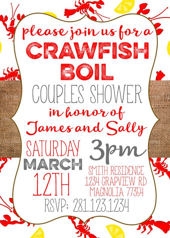 Crawfish Boil Invitation. Couples Shower by BlueHouseCollection