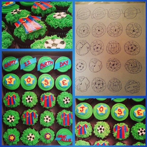 From a sketch to reality. Happy Birthday Jose! Soccer Cupcakes by #ruthysbakeshop #worldcup2014 #soccer #cupcakes #Barcelona #fondant #futbol @ruthysbakeshop
