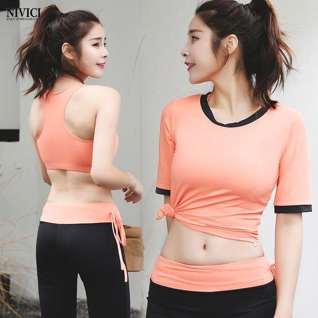 b2e69929648c56 Women sportswear yoga set T-shirt+bra+pants quick dry jogging suits  comfortable