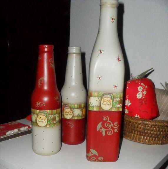 PINTURA EM VIDROBottle Crafts, Ems Vidro, Painting Bottle, Decorated Bottles, Painting Glasses, Christmas Bottle, Painting, Garrafas Decoradas, Christmas Decoupage Bottle
