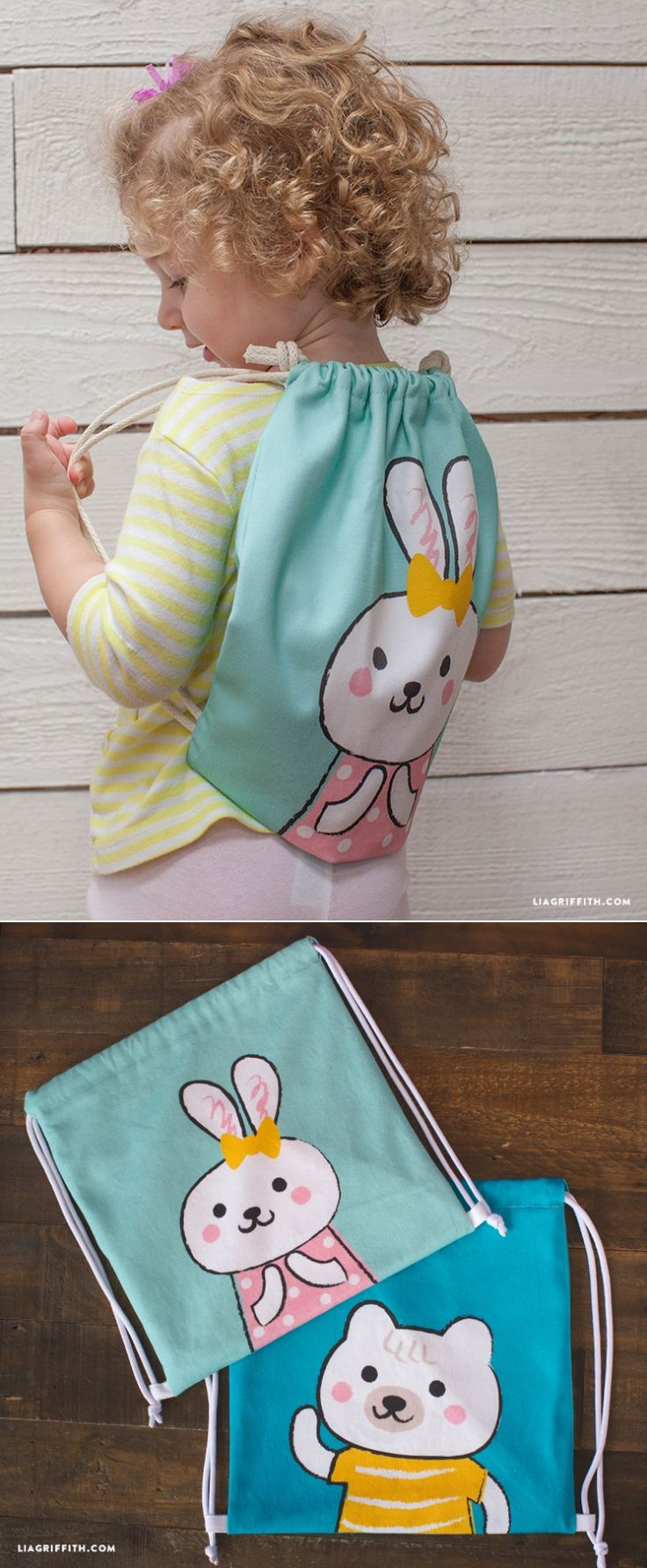 #DIYBackpack #kidsbag #drawstringbackpack www.LiaGriffith.com: