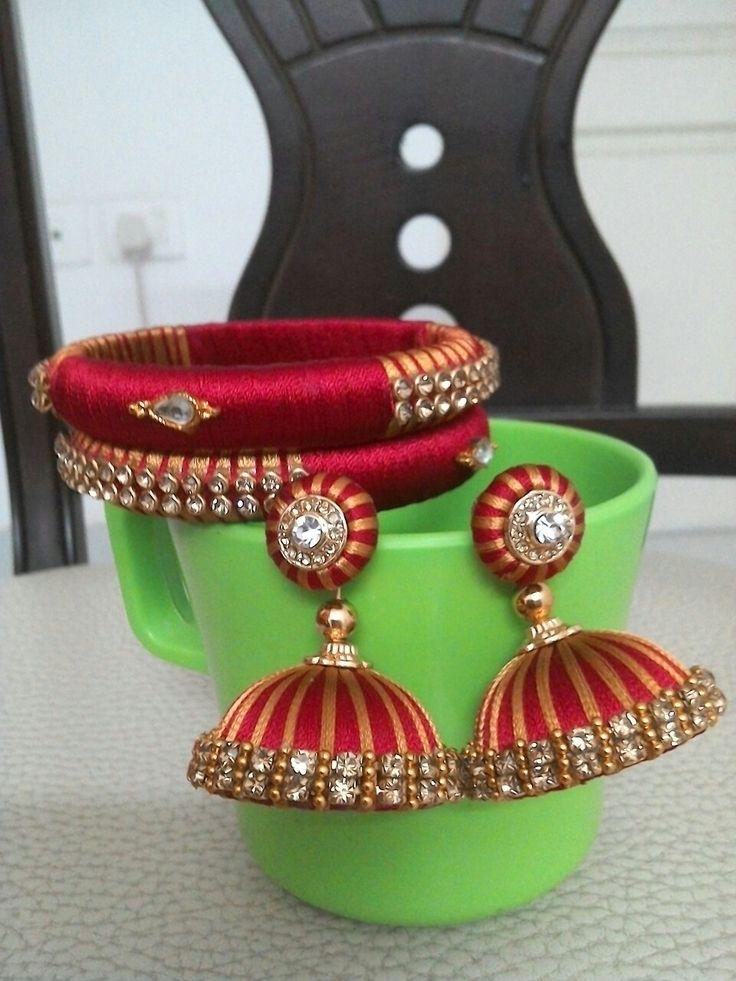 Silk thread bangles and jhumkas