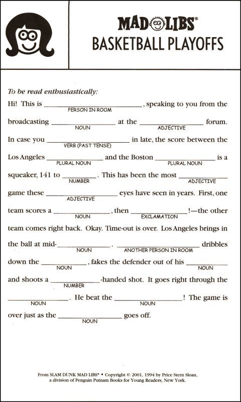 free printable mad libs for kids - Google Search                                                                                                                                                                                 More