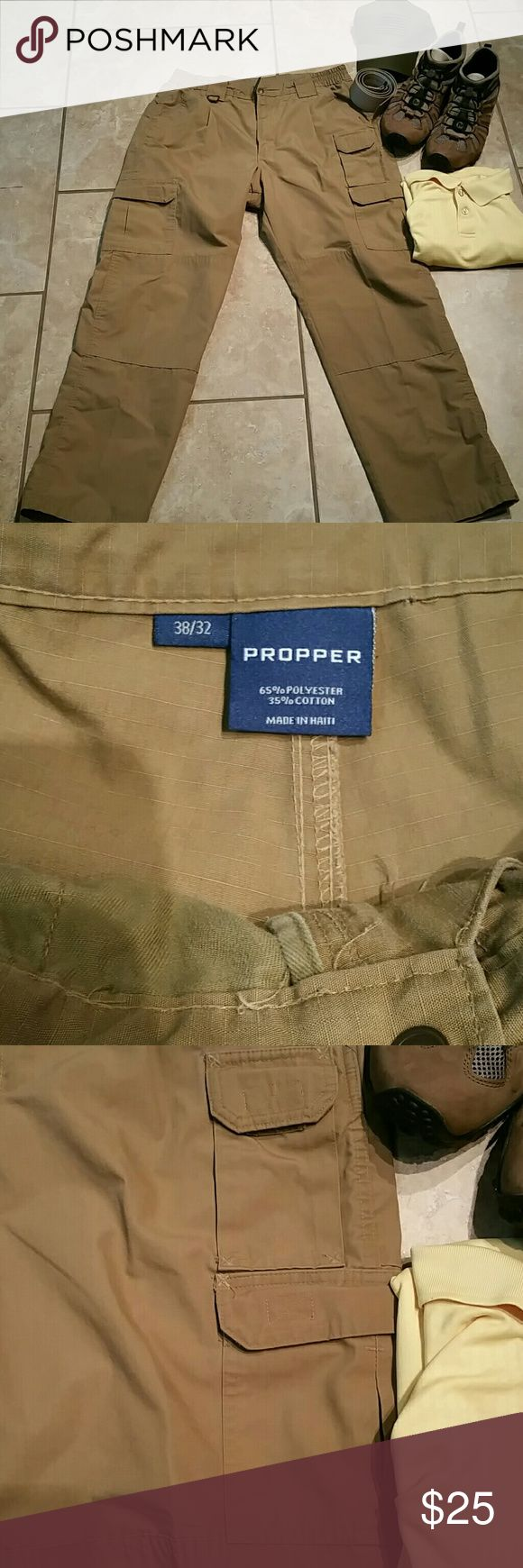 """Propper Tactical size 38 X 32 PROPPER Tactical Pant delivers. Nine pockets hold everything from your smartphone to your multi-tool. Rugged canvas fabric offers durability and strength, with DuPont Teflon fabric protector to repel stains and liquids. An action-stretch waistband adds comfort. And with our innovative wallet \""""pocket in a pocket\"""" you'll appreciate not sitting on your wallet all day long. Propper Pants Cargo"""