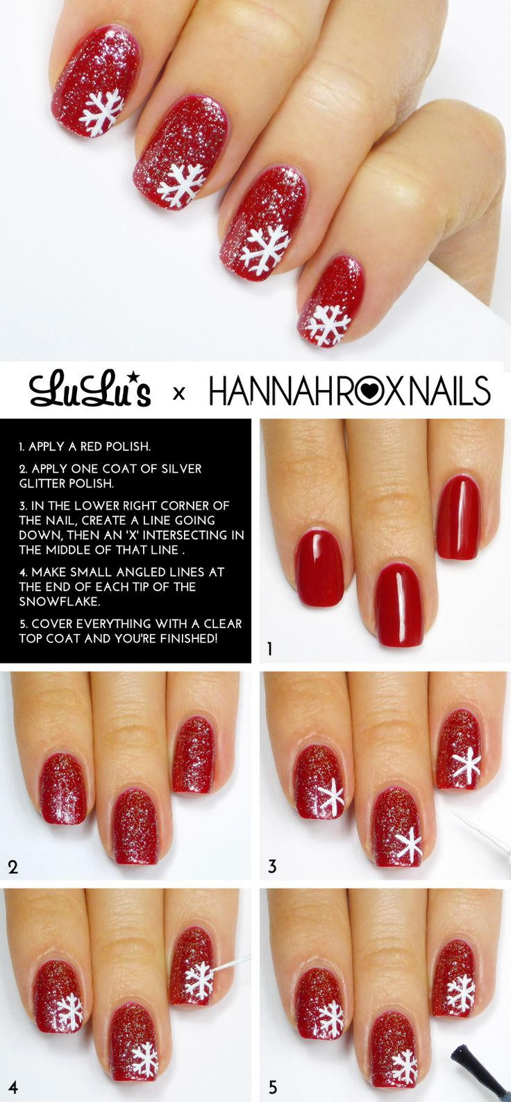 Mani Monday: Red Glitter Snowflake Nail Tutorial - Lulus.com Fashion Blog