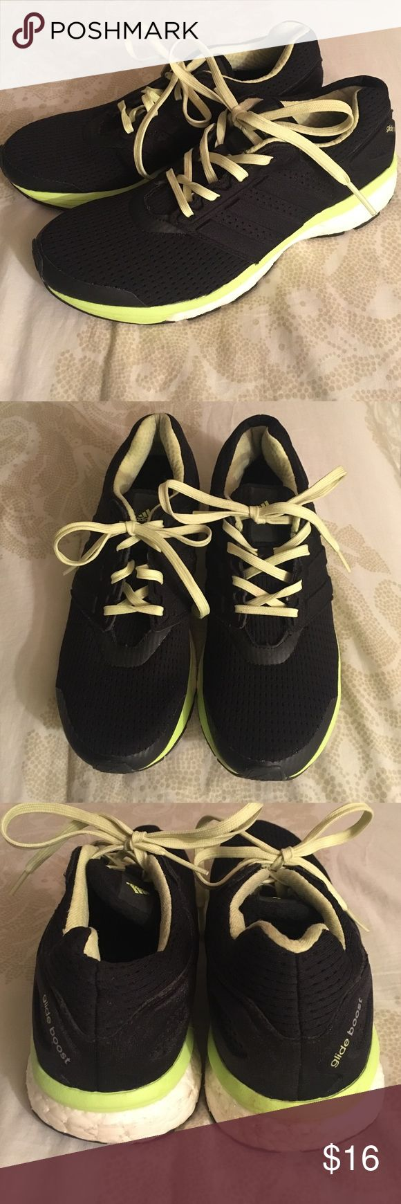adidas glide boost sneakers size 7 Black, lime and light yellow glide boost sneakers. Previously worn, but in great condition. Adidas Shoes Sneakers