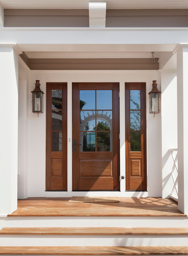 Wooden front door and sidelights. This home features beautiful wooden front door and sidelights. & 859 best Front Door images on Pinterest | Farmhouse interior ... Pezcame.Com