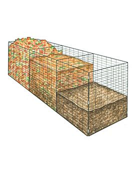 3-Bin Wire Composter for 'cold composting' - I have this in my yard for a few seasons now and use it for leaves and grass clippings.  Do not add weeds to it!!! The piles do not get hot enough to kill them off and they will just wait and respread once the compost is finished and ready for use.  It is a way to compost all the healthy cuttings and clippings from your property and garden.  Within 2-3 months....I have beautiful compost to spread around my beds and to use in my outside pots.