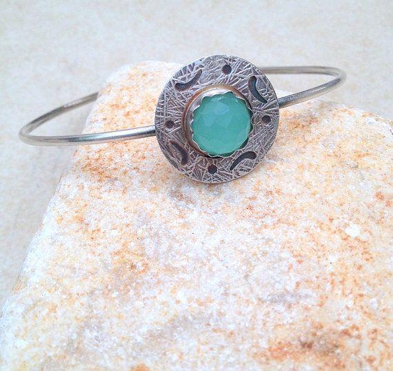 Sterling Silver Bangle Bracelet, Aquamarine stone, Sawn Silver, March Birthstone, Handmade Jewelry, oxidized silver, gemstone