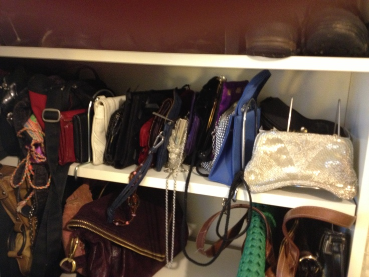 Purse Storage In My New Vanity Shoe Closet  Bookcase Turned Into Shoe/purse  Closet And Vanity. I Used Bookends From Ikea (they Cost Two Dollars For A  Pair) ...