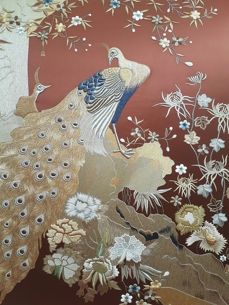 Our Decorex 2016 stand centrepiece. A unique, bespoke panel based on a Japanese screen design. Handembroidered on silk with silk, chenille and metallic threads and various applique techniques.