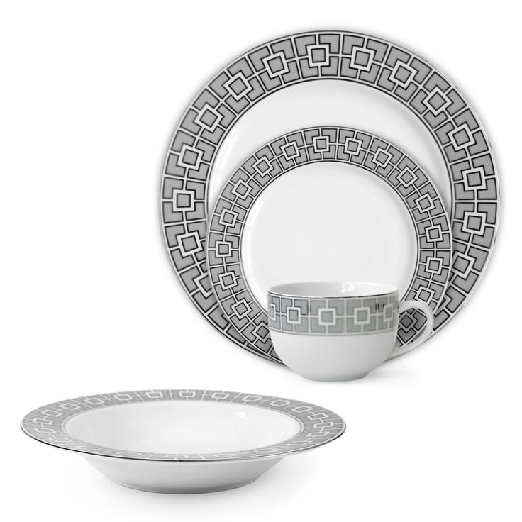 Modern Tableware | Grey Nixon 4 Piece Setting ~ Jonathan Adler