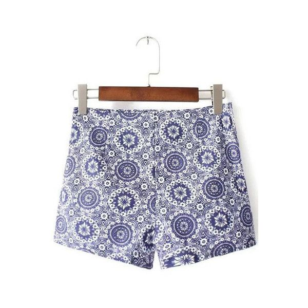 Blue And White Porcelain Print Zipper Side Shorts (€15) ❤ liked on Polyvore featuring shorts, print shorts, patterned shorts, blue and white shorts and zipper shorts