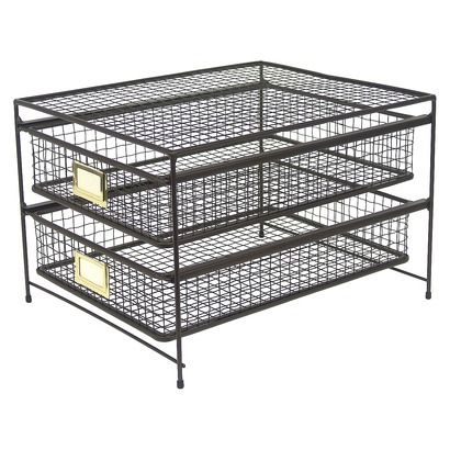 Threshold™ Rustic Wire 2 Drawer Organizer $20, could spray paint white