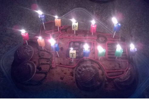 Tractor with icing, jaffa cakes and candles ;)
