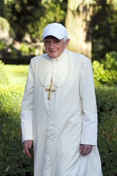 Pope Benedict XVI soon a pensioner.   Here he walks in his summer residence of Castelgandolfo