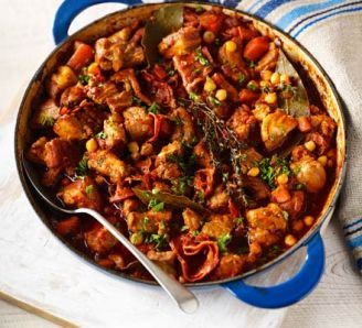 Chorizo, pork belly & chickpea casserole