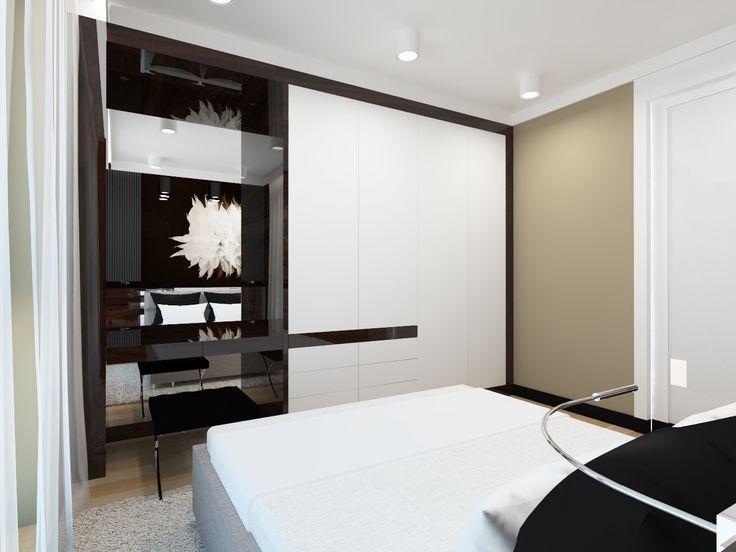 The project elegant and minimalist bedroom. Apartment 64m2 . Warsaw, Poland. www.artandarchitecture.pl
